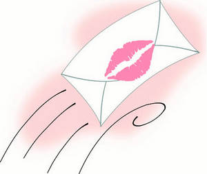 Free Envelope Sealed with a Kiss Valentine Clipart Picture
