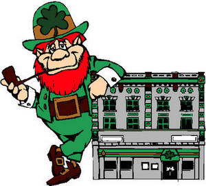 Free St. Patrick's Day Clipart Image of a Leprechaun Leaning on a Small Building