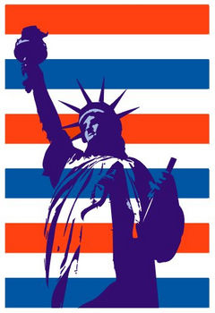 Free Clipart Picture of The Statue of Liberty on a Patriotic Background