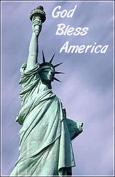 """Free Clipart Picture of The Statue of Liberty  with """"God Bless America"""""""