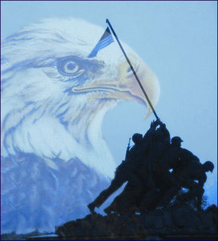 Free Clipart Picture of The Statue of Soldiers Taking Iwo Jima