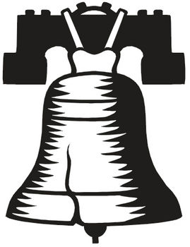 Free Clipart Illustration of The Liberty Bell in Black and White