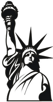 Free Clipart Illustration of The Statue of Liberty - Black and White