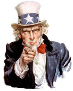 Free Clipart Picture of a Red, White and Blue Uncle Sam