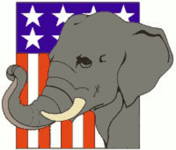 Free Clipart Picture of a Republican Icon the Elephant on a Flag Background