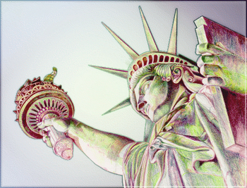 Free Clipart Picture of a Stylized Statue of Liberty