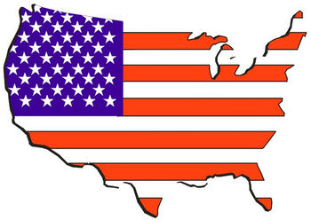 Free Clipart Picture of the United States Made From a Flag