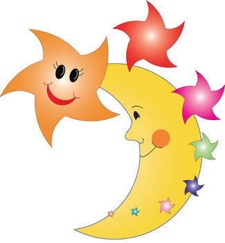 Free Clipart Picture of Happy Stars and The Man in the Moon