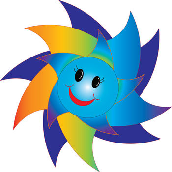 Free Clipart Picture of a Happy Rainbow Sun