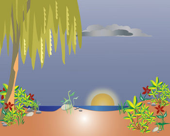 Free Clipart Illustration of a Tropical Island at Night with a Setting Sun