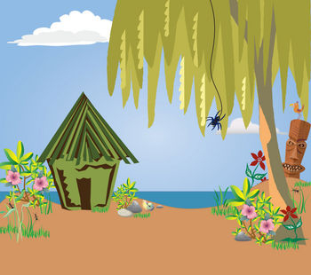 Free Clipart Illustration of a Tropical Island On a Summer Day
