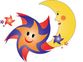 Clipart Picture of a Happy Star and Smiling Moon