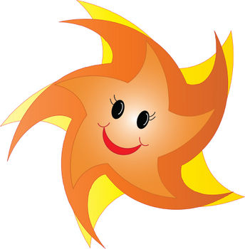 Free Clipart Picture of a Happy Orange Star