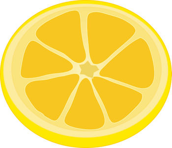 Free Clipart Illustration of a Lemon Slice