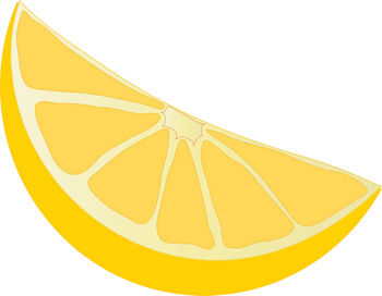 Free Clipart Illustration of a Lemon Wedge
