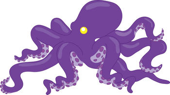 Free Clipart Illustration of an Octopus with Purple Skin