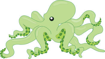 Free Clipart Illustration of a Lime Green Octopus