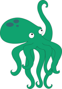 Free Clipart Illustration of a Baby Octopus Reaching