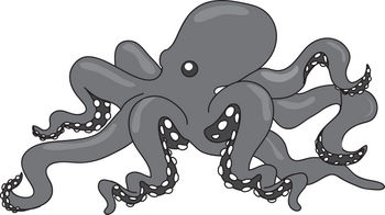 Free Clipart Illustration of a Gray and White Octopus
