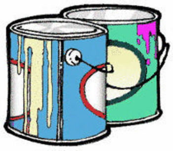 Free Clipart Picture of Two Cans of House Paint With Drips Down the Sides