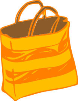 Free Clipart Picture of a Yellow and Orange Gift Bag