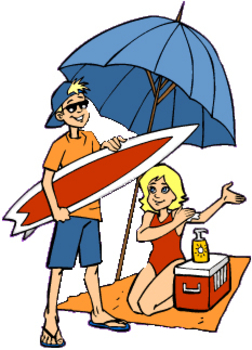 Free Clipart Picture of Teens on the Beach Under an Umbrella