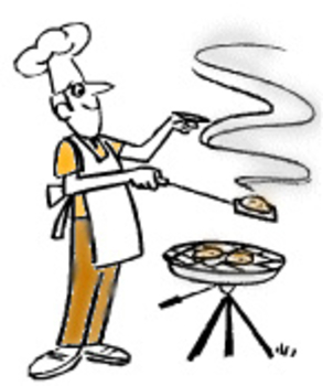 Free Clipart Picture of Dad BBQing Burgers