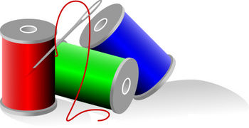 Free Clip Art Picture of Spools of Colored Thread