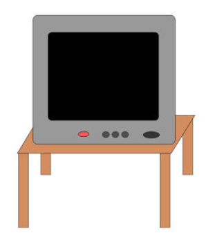Free Clip Art Picture of a Television Set on a Small Table