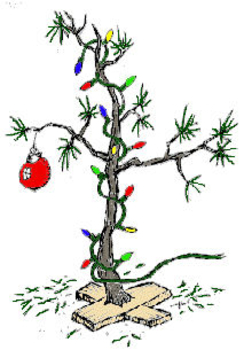 Free Clip Art Picture of a Scrawny Christmas Tree
