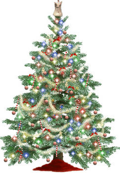 Free Clip Art Picture of a Sparkling Christmas Tree with an Angel on Top
