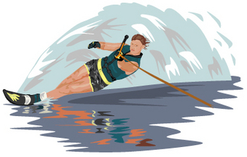 Free Clip Art Picture of a Woman Water Skiing