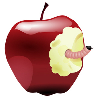 Free Worm in an Apple Clip Art Picture