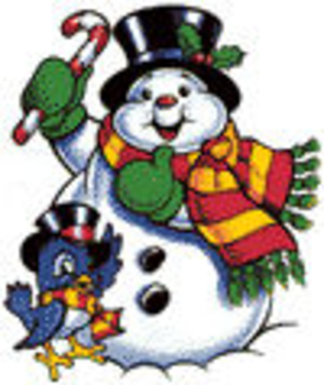 Free Clip Art Picture of a Cute Snowman with a Bluebird