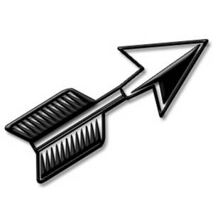 Clipart Picture of a Black Cutout Arrow with Depth