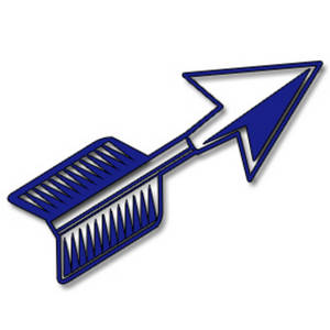Clipart Picture of a Blue Cutout Arrow