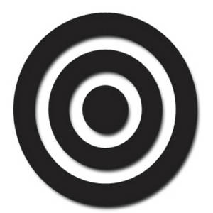 Clipart Picture of a Black Bullseye with Drop Shadow