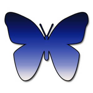 Free Clipart Picture of a Dark to Light Blue Gradient Butterfly