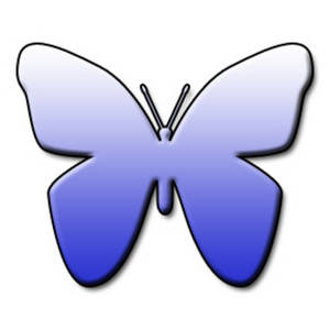 Free Clipart Picture of a Light to Dark Blue Gradient Butterfly