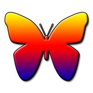 Free Clipart Picture of a Rainbow Colored Butterfly
