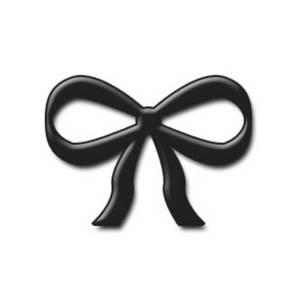 Free Clipart Picture of an Embossed Black Bow