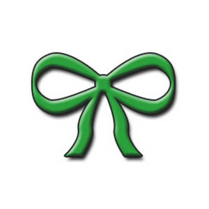 Free Clipart Picture of a Green Bow With Depth