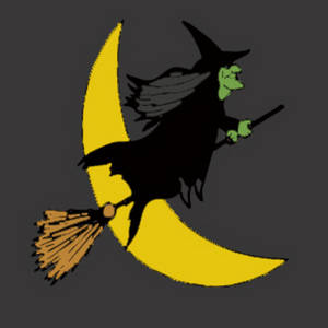 Free Clipart Picture of a Witch Riding Her Broom Across the Moon