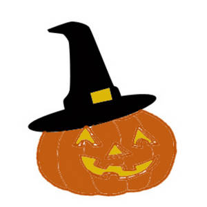 Free Clipart Picture of Pumpkin Wearing a Witch's Hat