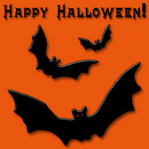 Free Clipart Picture of a Happy Halloween Graphic With Bats