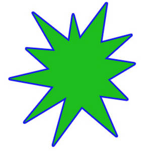 Free Clipart Picture of a Green Star Burst with a Blue Outline