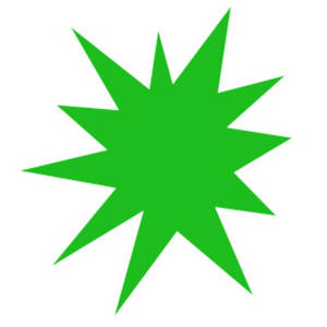Free Clipart Image of a Green Star Burst