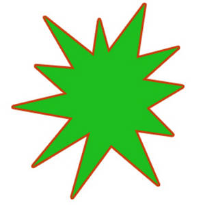 Free Clipart Picture of a Green Star Burst with a Red Outline