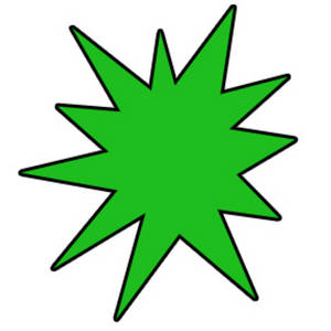 Free Clipart Graphic of a Green Star Burst with a Black Outline