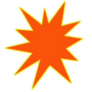 Free Clipart Picture of an Orange Star Burst with a Yellow Outline